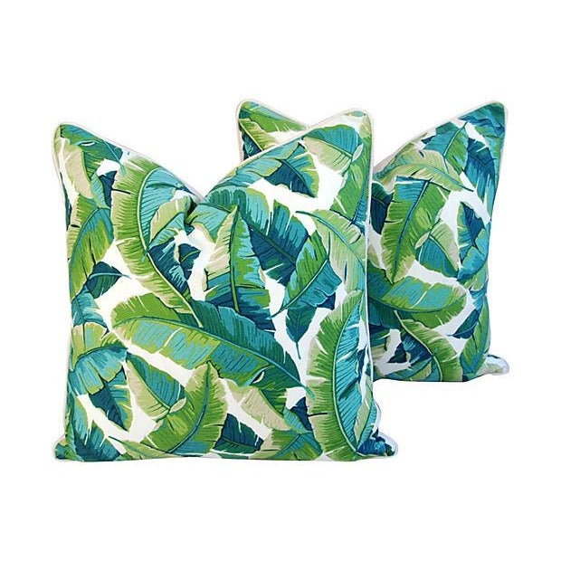 "24"" Square Custom Tailored Tropical Banana Leaf Feather/Down Pillows - Pair - Image 1 of 7"