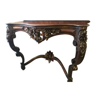 Antique Anglo-Indian Heavily Carved Rosewood Wall Console For Sale