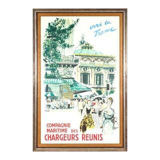 """Original Vintage French Travel Poster, """"Chargeurs Reunis Vers La France"""" - Framed For Sale"""