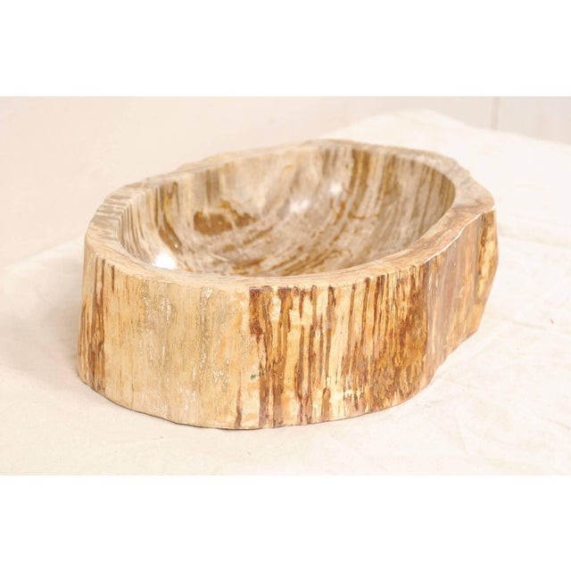 A petrified wood sink. This oval-shaped petrified wood sink has primary colors in a taupe and beige, with richer brown and...
