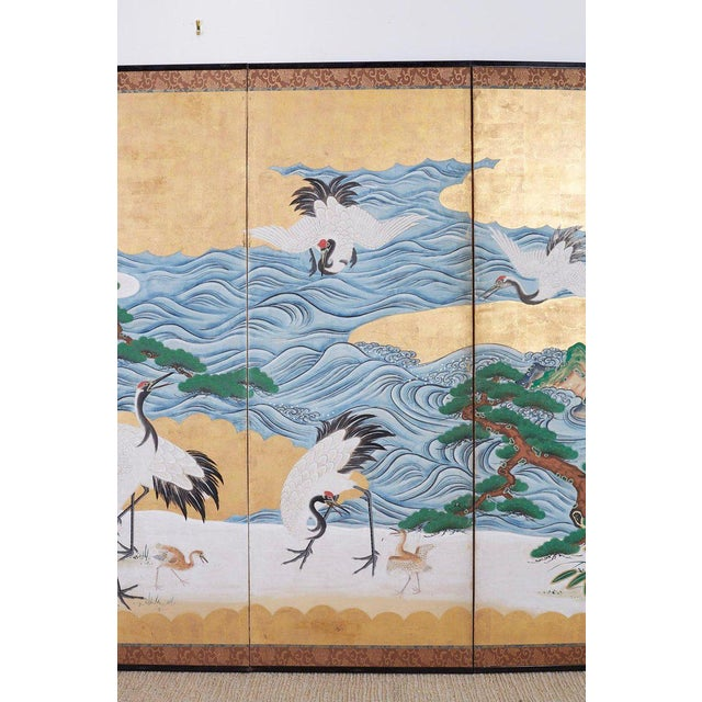 Early 19th Century Japanese Six Panel Screen of Cranes by the Sea For Sale - Image 5 of 13