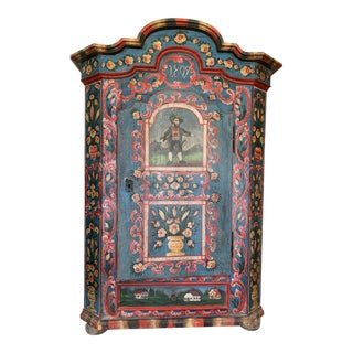 19th C. Pine Painted Marriage Armoire Wardrobe For Sale