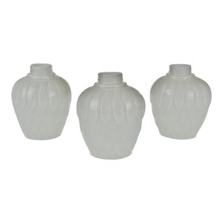 Mid Century Modern White Glass Artichoke Lamp Shades - Set of 3