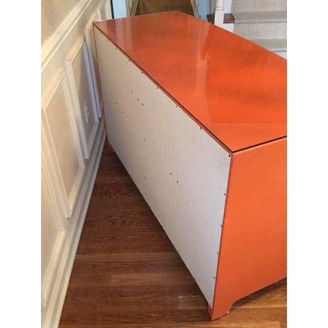 1970s Hollywood Regency Hermes Orange Leather Wrapped Dresser For Sale In New York - Image 6 of 7