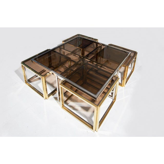 Gold Maison Charles, Paris, Large Brass and Chrome Square Coffee Table For Sale - Image 8 of 8