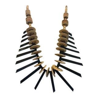 Mid-Century Wood and Horn Tribal Necklace For Sale