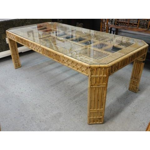 Bamboo & Seagrass Fretwork Dining Table - Image 10 of 11