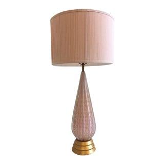 Alfredo Barbini Pink and Gold Murano Glass Table Lamp Circa 1950s For Sale