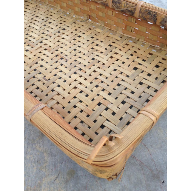 20th Century Country Woven Tray Basket For Sale - Image 4 of 7