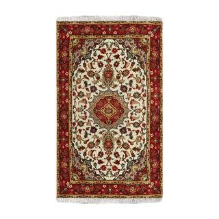 Beige Wool Tabriz Rug - 3′5″ × 5′1″ For Sale