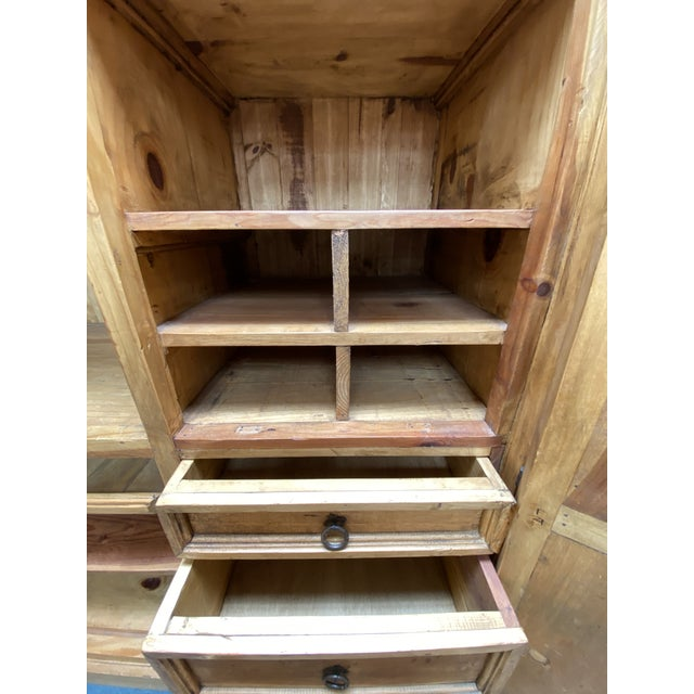 Mission Style Large Pine Office Armoire | Chairish