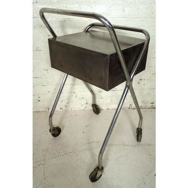 Petite Industrial Rolling Table For Sale - Image 4 of 7
