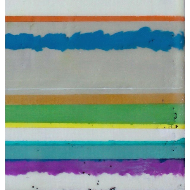 """Original Encaustic Mixed Media Painting by Gina Cochran """"Confections No. 34"""" - Stripes For Sale - Image 4 of 9"""