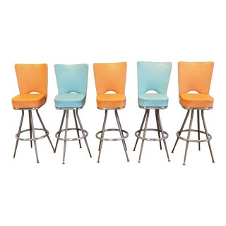 Mid Century Modern Bar Stools - Set of 5 For Sale