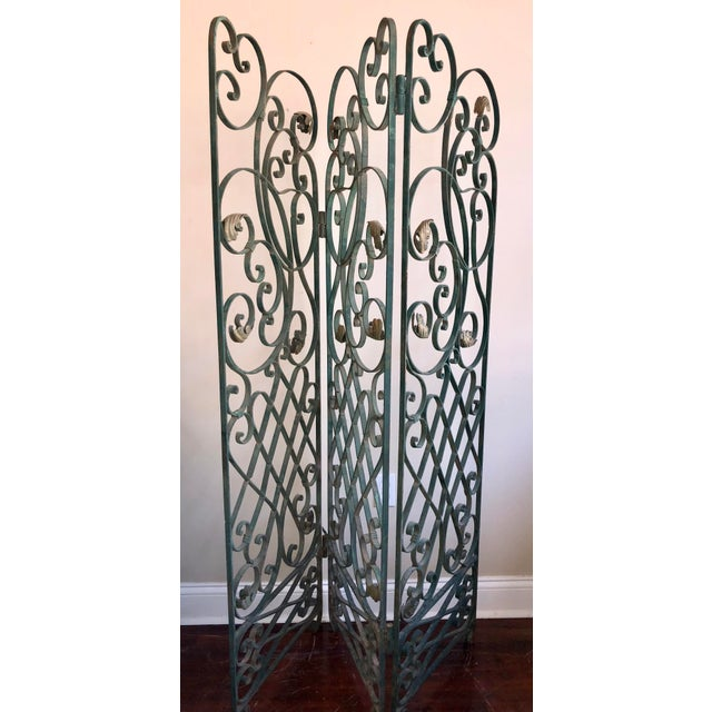 Metal Antique Green Wrought Iron Folding Divider For Sale - Image 7 of 12
