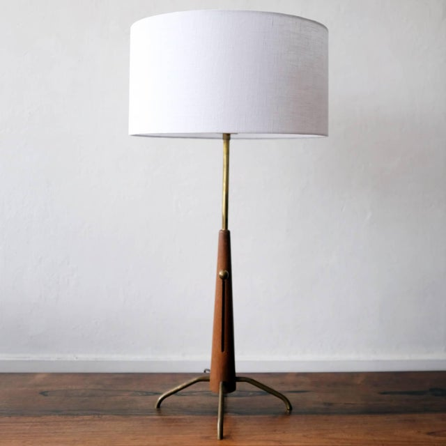 Mid 20th Century Walnut and Brass Gerald Thurston Adjustable Height Lamps For Sale - Image 5 of 10