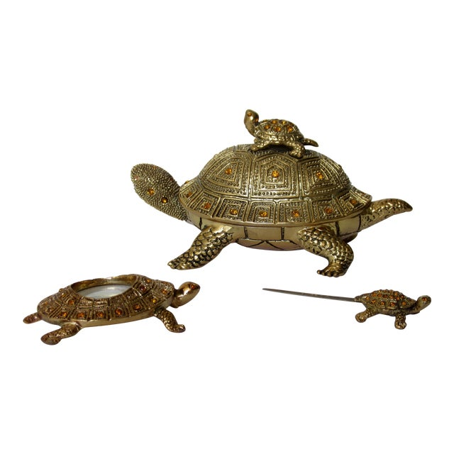 Greek Key Gilt Brass Bejeweled Turtle Lidded Keepsake Box, Letter Opener & Magnifier Set in One - 3 Pieces For Sale