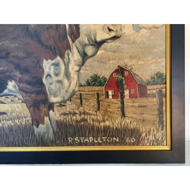 Brown Hereford Bull ~ Oil on Canvas For Sale - Image 8 of 12