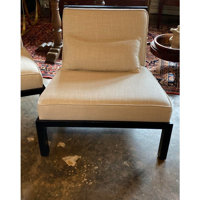 Mid Century Asian Modern Black Slipper Chairs - a Pair For Sale In Dallas - Image 6 of 11