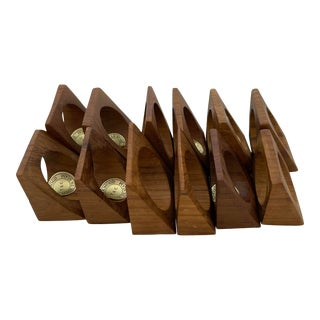 Mid 20th Century Vintage Mid-Century Modern Teak Napkin Rings - Set of 12 For Sale