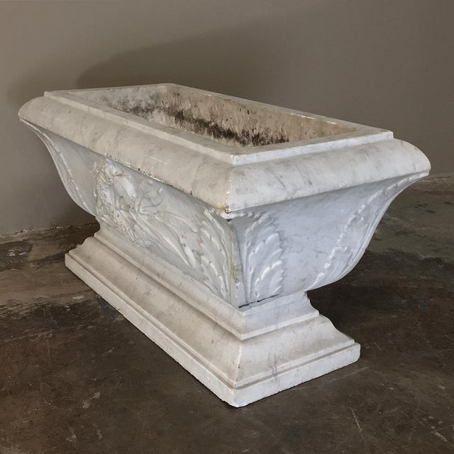 19th Century Louis XVI Carved Carrara Marble Neoclassical Planter For Sale In Dallas - Image 6 of 11
