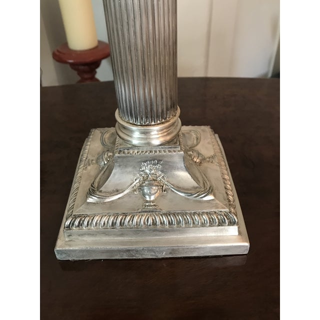 Victorian Silverplated Oil Table Lamp For Sale In Los Angeles - Image 6 of 9