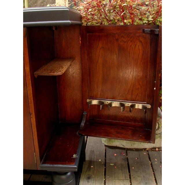 Early 20th-C. Oak & Black-Painted Liquor Cabinet - Image 8 of 11