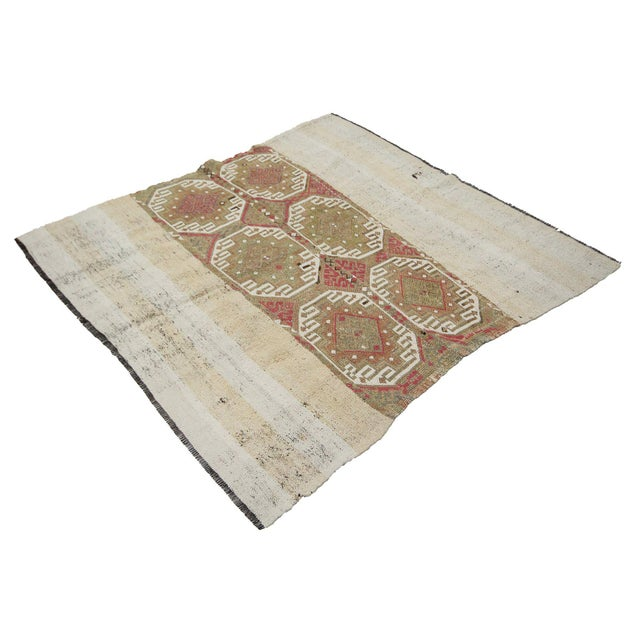 Islamic Vintage Turkish Decorative Kilim Rug- 5′2″ × 5′5″ For Sale - Image 3 of 7
