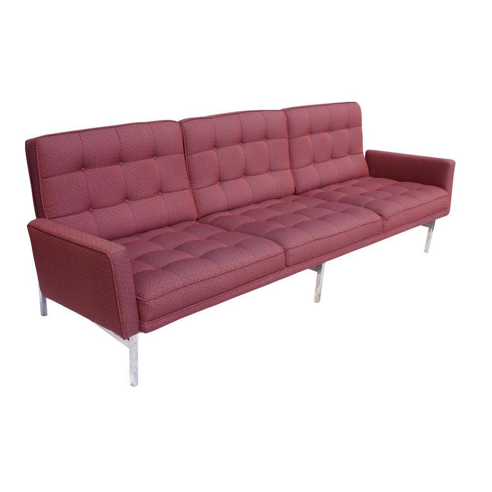 Vintage Florence Knoll Burgundy Sofa For Sale