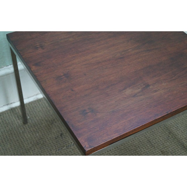 Mid-Century Square Chrome Rosewood Side Table - Image 8 of 10