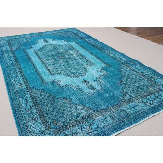 Turkish Over-Dyed Turquoise Rug - 5′5″ × 9′3″ - Image 5 of 11