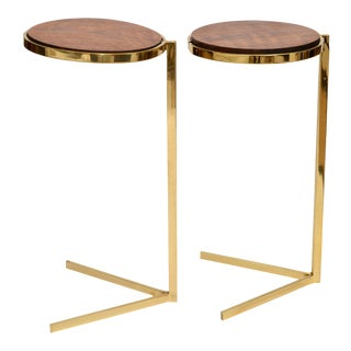 Personal Brass with Wooden Top Side Table For Sale