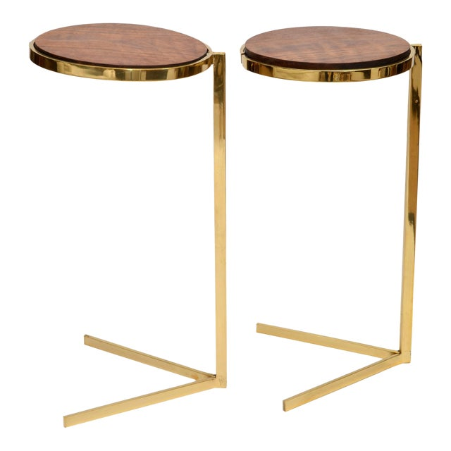 Personal Brass with Wooden Top Side Table - Image 1 of 9