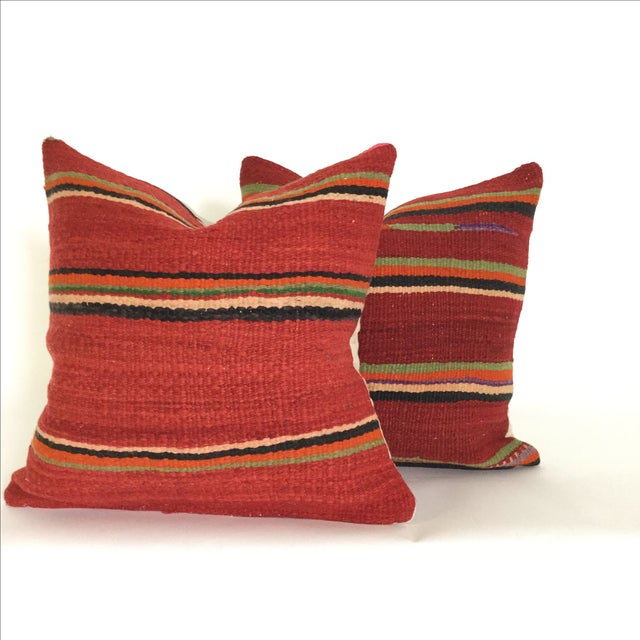 Vintage Flatweave Moroccan Pillows - A Pair - Image 2 of 4