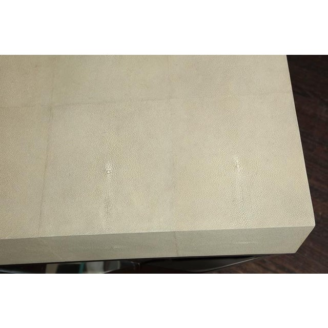 Genuine Shagreen Desk with Polished Chrome X-Band Base For Sale In New York - Image 6 of 10