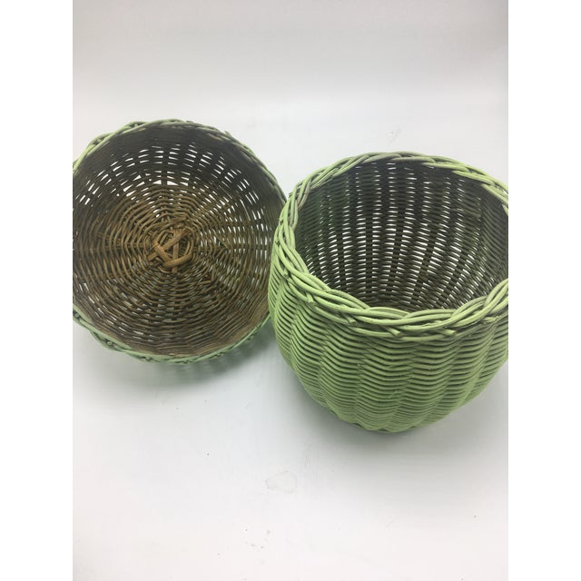 Vintage Wicker Green Apple Basket For Sale In Charleston - Image 6 of 8