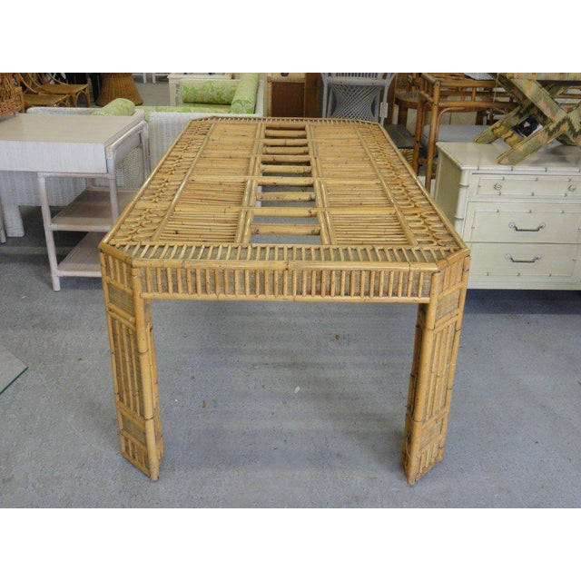 Late 20th Century Intricate Natural Bamboo Dining Table For Sale - Image 5 of 13