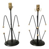 Image of Mid Century Black & Brass Weinberg Lamps - a Pair For Sale