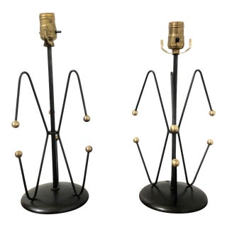Pair of Mid Century Black & Brass Weinberg Lamps For Sale