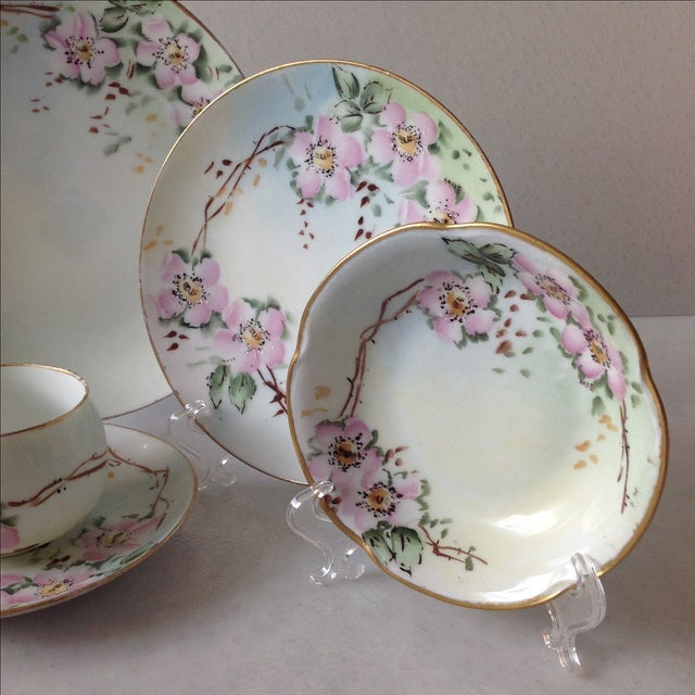Traditional Antique Wild Rose Bavaria Porcelain Dishes - S/29 For Sale - Image 3 of 9