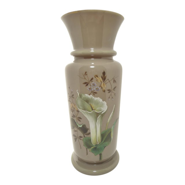 Antique European Hand Painted Art Glass Vase Taupe W Calla Lily For Sale