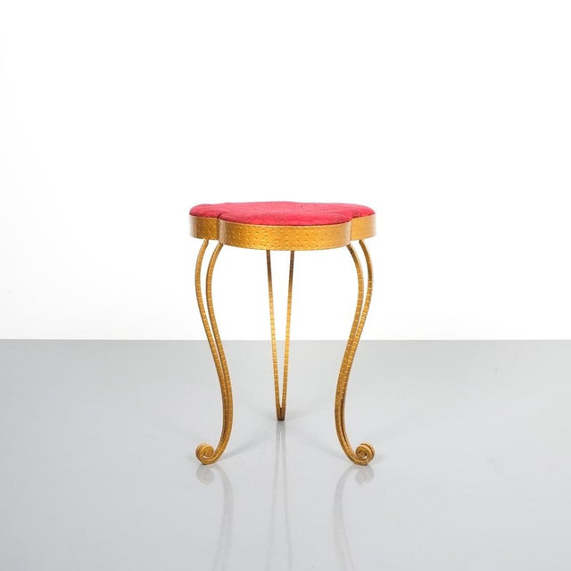 Pair of Pier Luigi Colli gold iron clover stools with red fabric, Italy, 1950. Hammered gilt iron stools with red velvet-...
