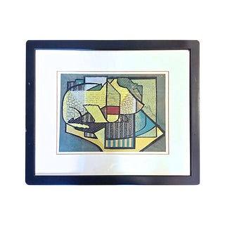 Vintage Mid-Century Modern Abstract Lithograph Print For Sale