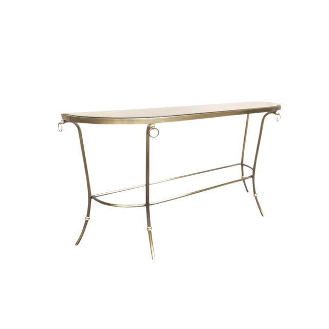 1986 Design Institute of America Brushed Nickel & Glass Console Table For Sale
