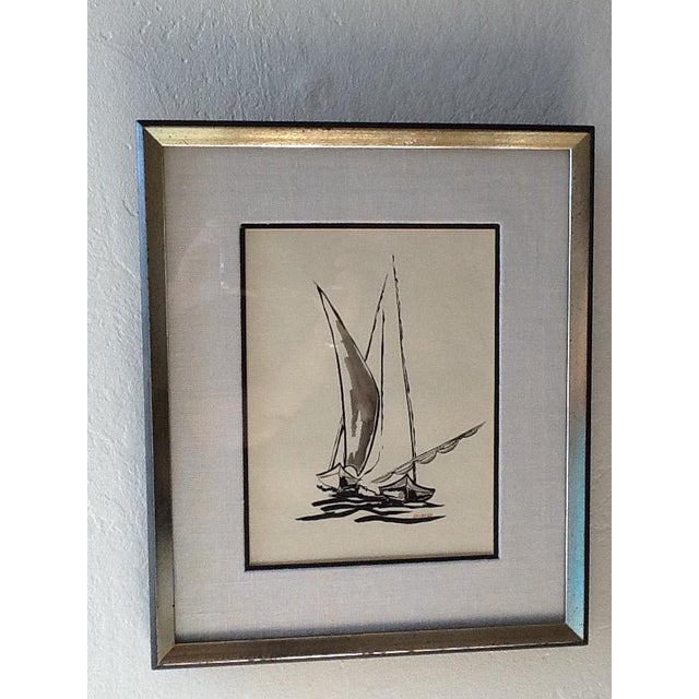 Mid Century Sailboat Painting. Black Ink Original Signed Sailboat Painting - Image 2 of 10