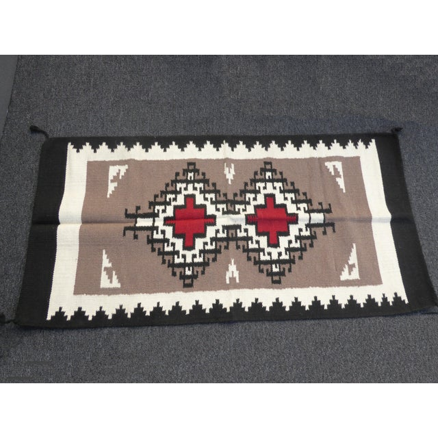Textile Southwestern Style Geometric Pattern Wool Blanket / Tapestry For Sale - Image 7 of 7