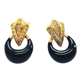 Gold Plated Clip on Earrings With Black Enamel and Clear Crystals by Dior For Sale