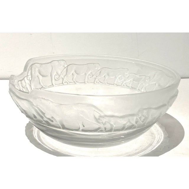 Art Deco Revival Nachtmann Safari Leopard Bowl Frosted and Clear Lead Crystal For Sale - Image 9 of 13