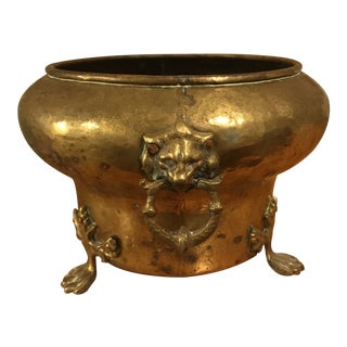 1960s Hollywood Regency Hammered Brass Footed Lion's Head Planter
