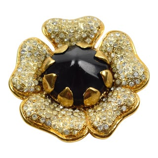 Valentino Garavani Floral Pin Brooch Jewel Paved and Black Resin For Sale